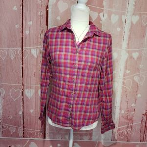 Columbia Plaid Button-up Top